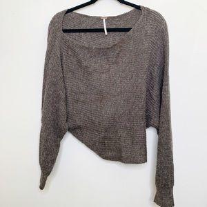 Free People Brown Wool Scoop Neck Oversize Sweater